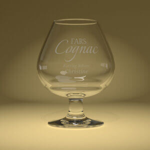 Cognacglas med gravering