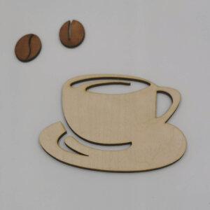 Kaffekop på underkop i træ